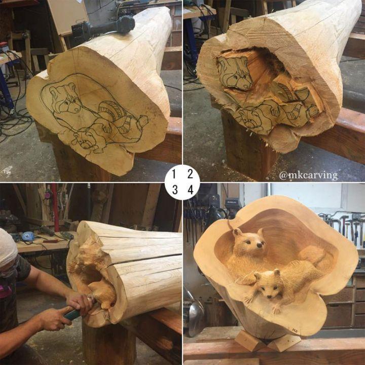 de fabuleuses sculptures d animaux 3d partir de troncs d 39 arbres tuxboard. Black Bedroom Furniture Sets. Home Design Ideas