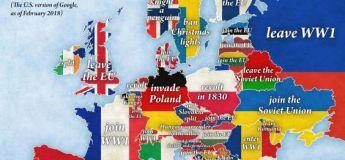 Une carte de l'Europe selon la saisie-automatique de Google
