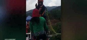 Un bungee jump avec sa fille de 2 ans dans les bras (et non attachée, elle…)