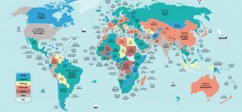Cette carte montre les traductions littérales des noms des plus grandes villes du monde