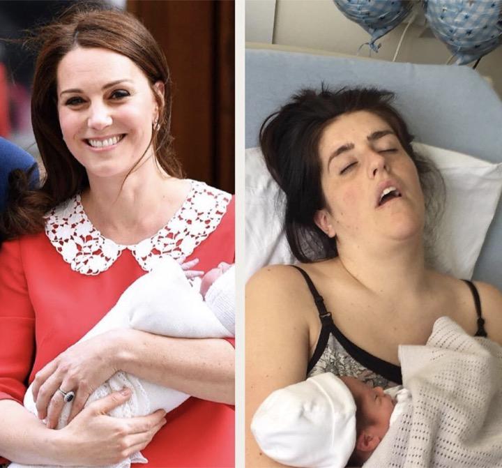 """Les Photos Post Accouchement Des Mamans """"normales"""" VS Kate"""