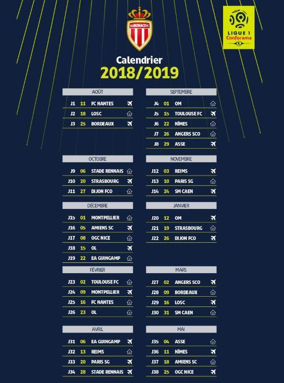le calendrier officiel de matchs de ligue 1 saison 2018