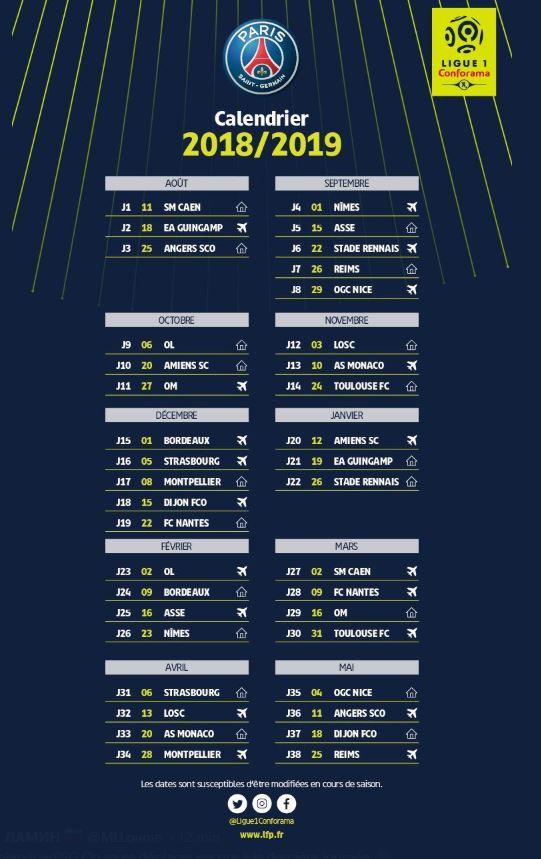 Calendrier L1 Psg.Le Calendrier Officiel De Matchs De Ligue 1 Saison 2018 2019