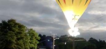 Un homme en montgolfière échappe à l'électrocution de lignes électriques et à la noyade dans un lac