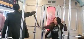 Il réalise un exorcisme dans un métro sur une femme … qui lui donne un gros coup de parapluie