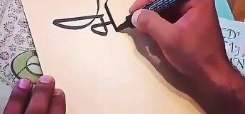 Un calligraphe nous montre son talent rapidement, et sans rajouter de blanc