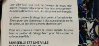 Tract des Bad Gones du virage nord lors du match OL OM