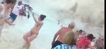 Une falaise s'effondre sur cette fameuse plage Instagram en Grèce, faisant chavirer plusieurs bateaux