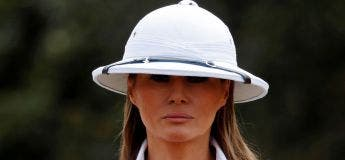 Melania Trump s'attire les foudres des internautes en portant un casque colonial lors d'un safari
