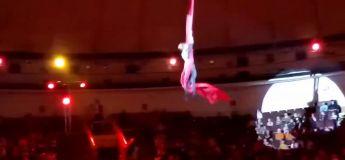 Une acrobate chute lourdement d'un tissu aérien au cirque (vidéo)