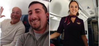 Un papa a voyagé en avion avec sa fille hôtesse de l'air qui a travaillé pendant les fêtes de Noël