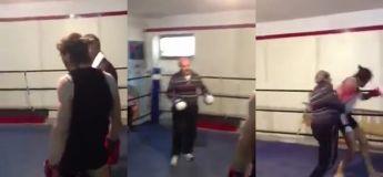 Boxe : Vous allez être surpris par la violence des coups de ce vieil homme qui fracasse ce jeune