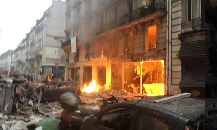 Vidéo de l'explosion de la boulangerie dans un l'immeuble de Paris