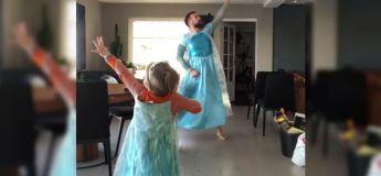 Cette vidéo de ce papa et son fils dansant à «Let it Go» de «Frozen» en s'habillant comme «Elza» devient virale en seulement 24 heures