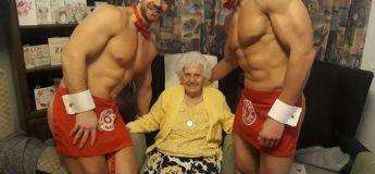 Cette grand-mère reçoit des majordomes nus en cadeau pour ses 100 ans