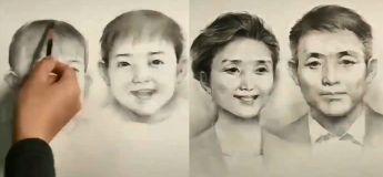 Il dessine les étapes de la croissance de deux personnes, depuis la naissance jusqu'à ce qu'elles vieillissent