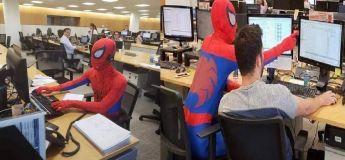 Pour son dernier jour de travail, cet homme arrive en s'habillant comme Spider-Man
