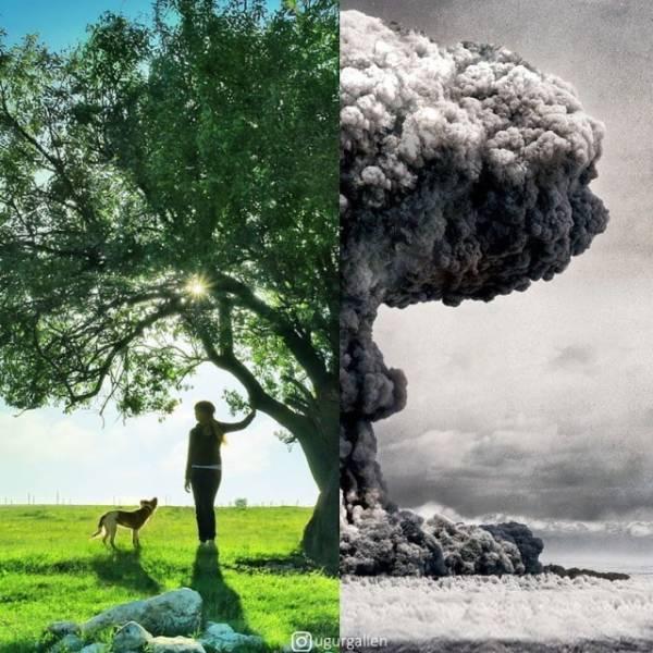 Le contraste entre les deux mondes dans lesquels nous vivons actuellement en combinant des photos