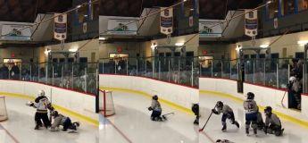 C'est difficile pour tout le monde d'entrer sur une patinoire, la preuve avec ces mini hockeyeurs