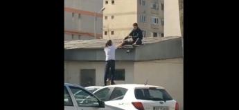Ce n'est peut-être pas une si bonne idée de vouloir trinquer sur un toit ?