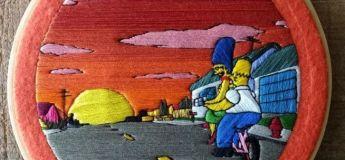 Une jeune femme reprend des scènes des Simpson en broderie