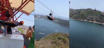 Cette tyrolienne n'est certainement pas conseillée à ceux qui ont peur des hauteurs