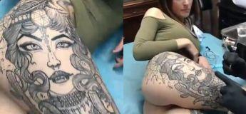 On n'est pas encore sure du plus impressionnant : son tatouage, ses fesses ou le fait qu'elle a un tatouage énorme sur ses jambes
