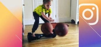 A 4 ans seulement, cette fille talentueuse dribble 2 ballons de basket en restant debout sur l'hoverboard