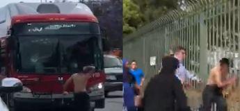 Dans un incident bizarre, un homme torse nu brise les fenêtres des voitures et bus à Los Angeles