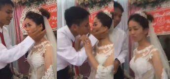 Elle a brutalement poussé son mari quand il a voulu l'embrasser lors de la cérémonie de leur mariage