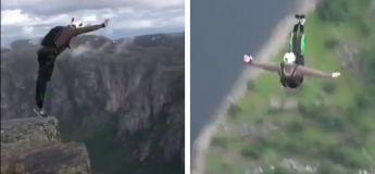 Il saute depuis une falaise et exécute un saut incroyable en parachute (Vidéo)