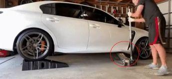 Ce pauvre homme a juste voulu faire revenir sur terre  sa voiture après quelques réparations mais cela a mal tourné pour lui