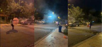 Deux jeunes hommes, ivres, se tirent dessus avec des feux d'artifice