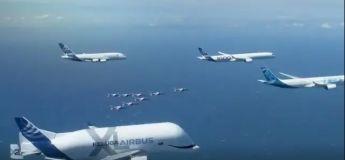 La flotte d'Airbus vole en formation pour fêter son 50ème anniversaire