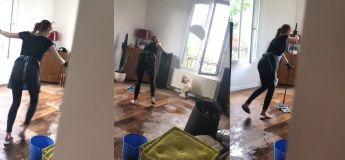 Elle a été très surprise par ce que sa femme de ménage faisait quand elle est rentrée chez elle plus tôt que prévu