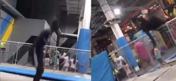 Il s'est jeté en l'air, hors du trampoline et heureusement pour lui personne ne l'a vu
