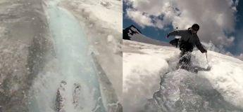 Ces hommes font du ski nautique en montagne et c'est super impressionnant
