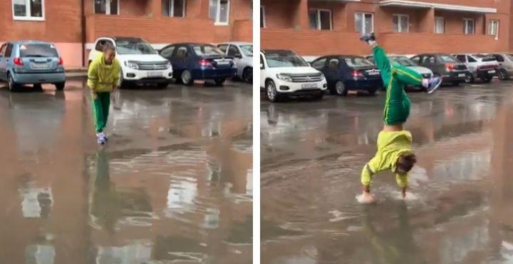 Elle préfère marcher sur les mains pour garder les pieds secs (Vidéo)