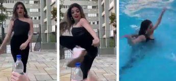 Le jeu de séduction de cette jeune femme tombe littéralement à l'eau (Vidéo)