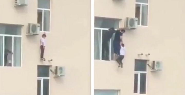 Il sauve un enfant menaçant de tomber du haut d'un immeuble