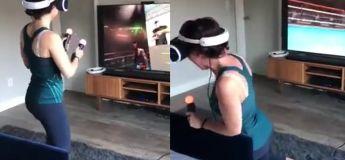 Elle a cru qu'elle était prête pour un combat de boxe en réalité virtuelle, mais regardez ce qu'il s'est passé