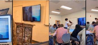 Ils ont fait une farce à leur professeur en agissant comme s'ils avaient cassé la télé de la salle de classe