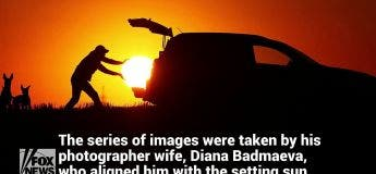 Les photos merveilleuses d'un homme portant le soleil à bout de bras jusqu'à sa voiture