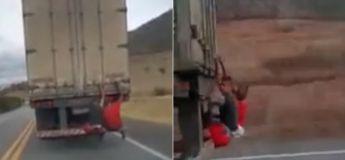 Brésil : une vidéo montre deux passagers clandestins sur un poids lourd