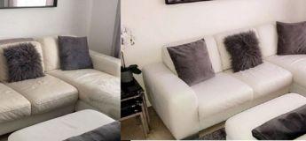 Une maman transforme un canapé en cuir usé avec 23 euros de peinture et il a l'air « comme neuf »