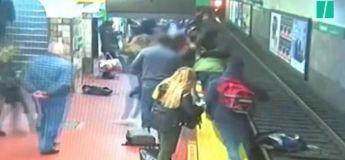 Une femme poussée accidentellement sur les rails du métro sauvée in extremis