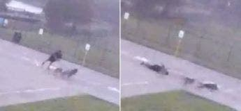 Un homme s'effondre instantanément après avoir été frappé par la foudre.
