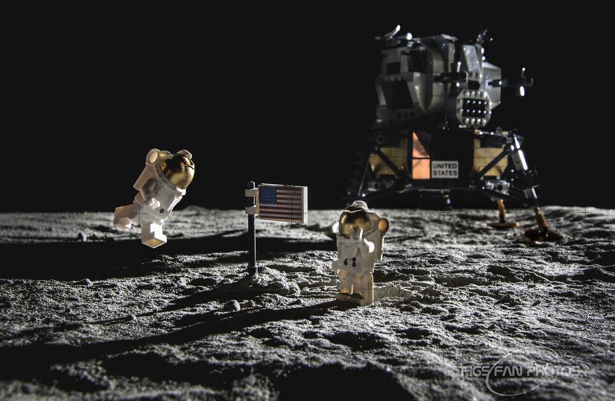 Il a recréé des photos de la mission Apollo 11 avec ses Lego