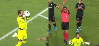 À peine une minute passé du match et ce gardien turc reçoit un carton rouge