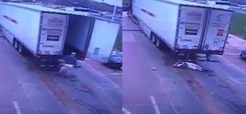 Cet homme s'est pris le KO de la journée quand la porte de son camion s'est refermée sur lui à cause du vent